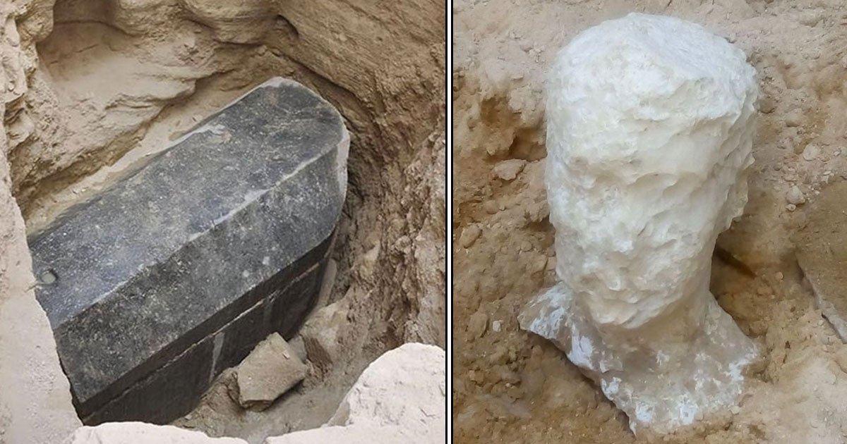egypt research coffin.jpg?resize=636,358 - Archaeologists Found A Massive Black Coffin In Egypt—Prepare To Open Huge Granite Sarcophagus