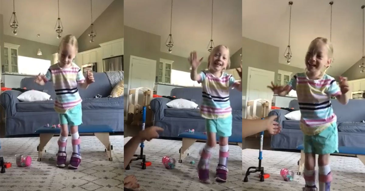 featured 4.jpg?resize=1200,630 - Little Girl With Cerebral Palsy Takes Her First Independent Step—It Is So Heart Warming To See