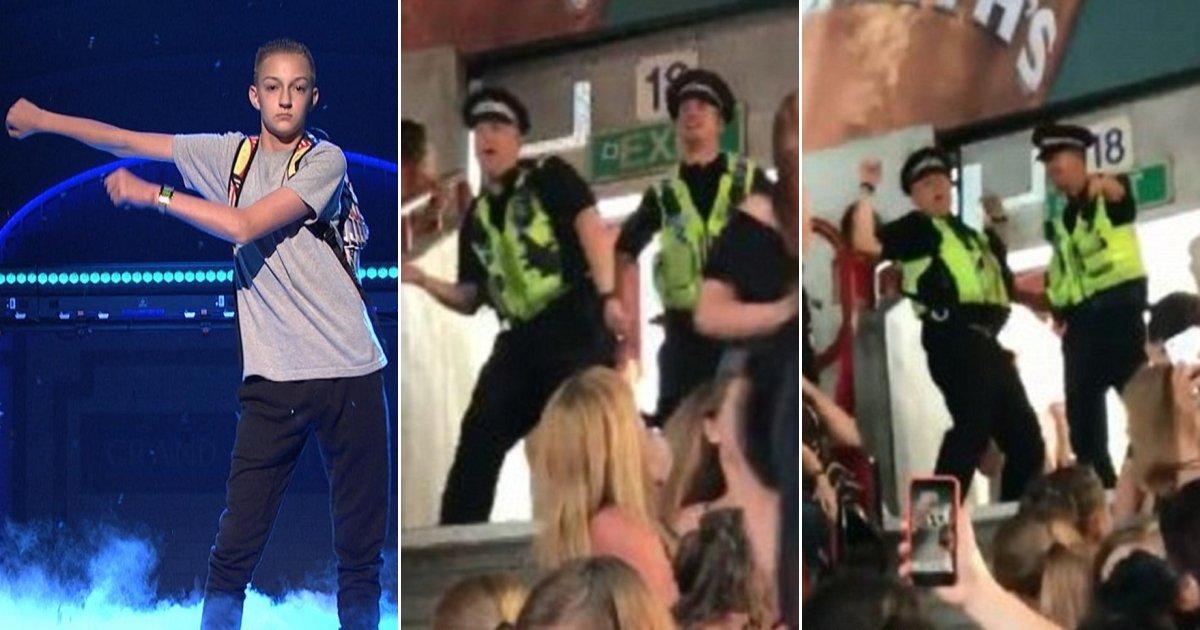 flossdance.jpg?resize=300,169 - Deux policiers au concert de Little Mix ont presque volé la vedette au groupe quand ils se sont mis à danser le Floss