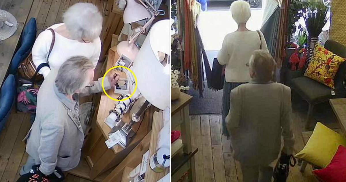grey hair thieves.jpg?resize=636,358 - The Unusual Suspects Caught On Camera While Stealing Jewelry, Police On Hunt For The Grey-Haired Duo