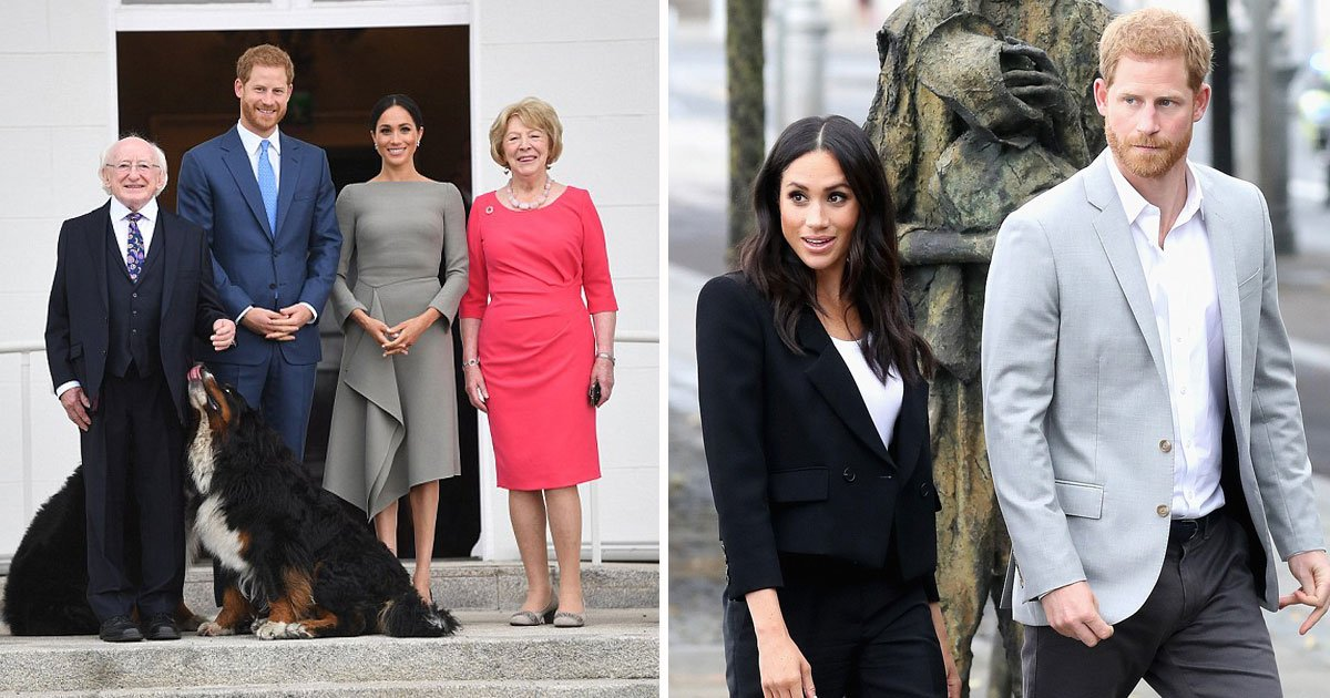 harry meghan ireland dublin.jpg?resize=300,169 - Harry e Meghan começaram seu segundo dia de compromissos, encontraram-se com presidente da Irlanda e visitaram um museu ÉPICO