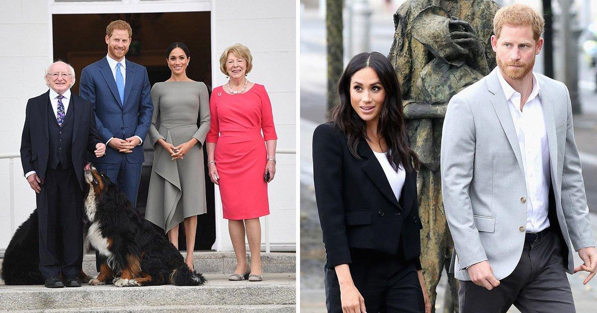 harry meghan ireland dublin.jpg?resize=574,582 - Harry e Meghan começaram seu segundo dia de compromissos, encontraram-se com presidente da Irlanda e visitaram um museu ÉPICO