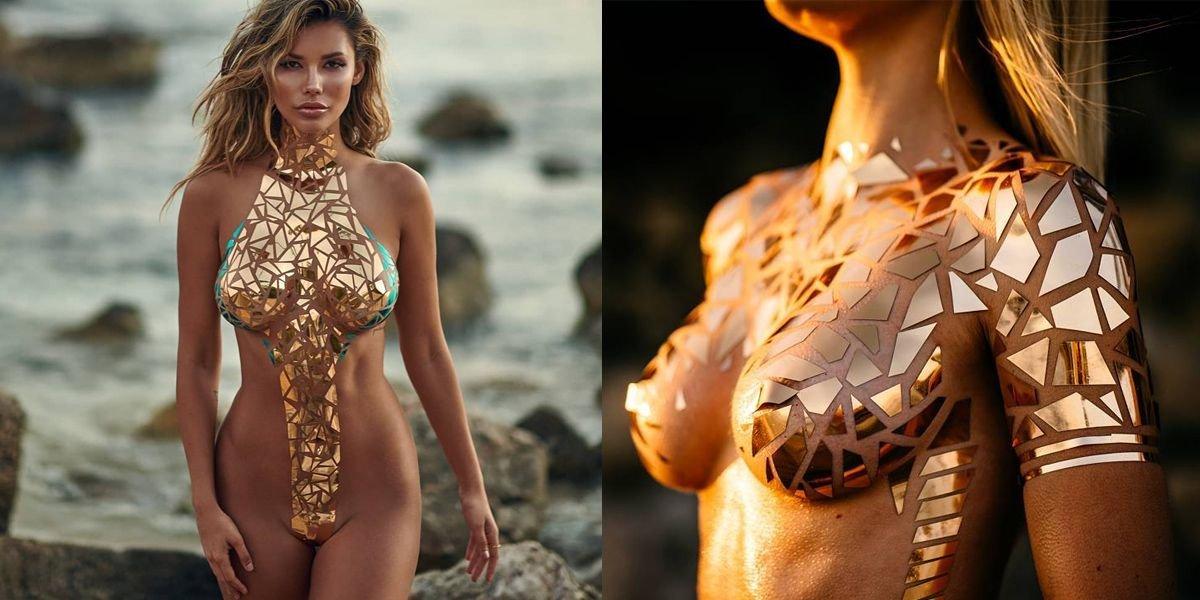 img 5b5f8f8183666.png?resize=1200,630 - 逼近全裸等級的泳裝要辣爆眼球啦!用膠帶貼成的超性感「金屬片比基尼」你看過嗎?