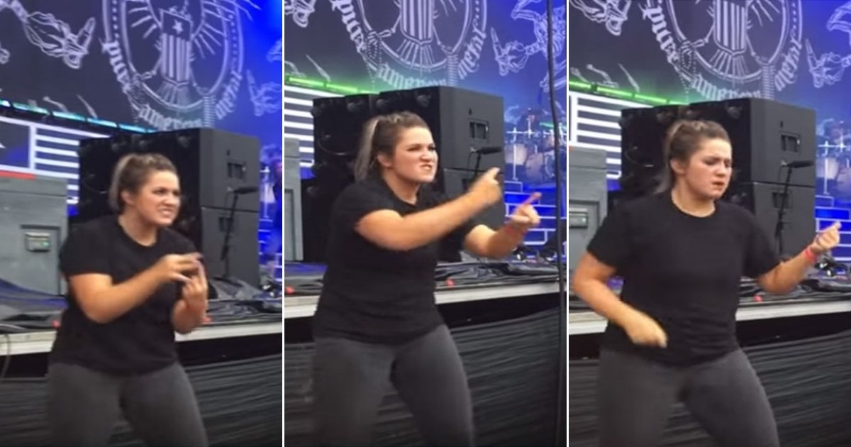 interpreter side.jpg?resize=636,358 - Passionate Sign Language Interpreter Amazes The Audience With Her Perfect Translation Of The Song At Metal Concert
