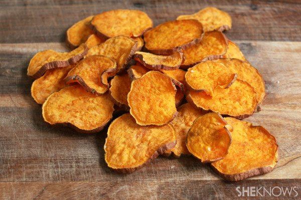 Homemade sweet potato chips made in under five minutes.