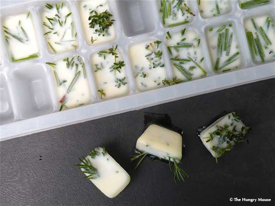 Herbs and Oilve Oil in Ice Cube Tray