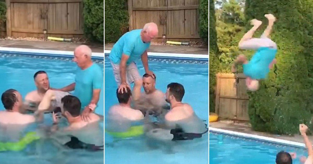 man.jpg?resize=412,232 - Incroyable moment: un homme de 81 ans effectue un salto arrière dans une piscine