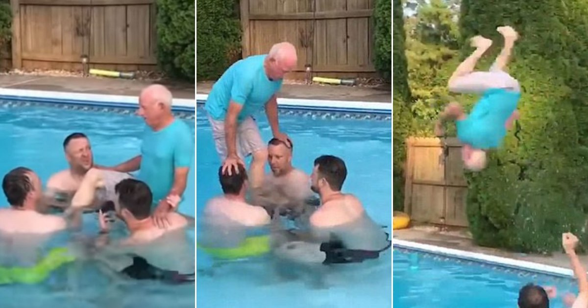 man.jpg?resize=648,365 - Incredible Moment: An 81-Year-Old Man Flawlessly Performs A Backflip In A Swimming Pool