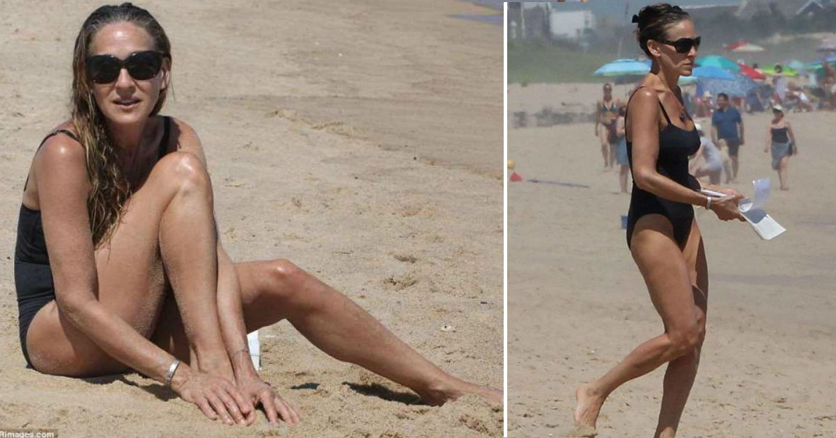 never age.jpg?resize=636,358 - Sarah Jessica Parker Proves She Doesn't Age As She Displays Her Toned Figure In A Black Bathing Suit