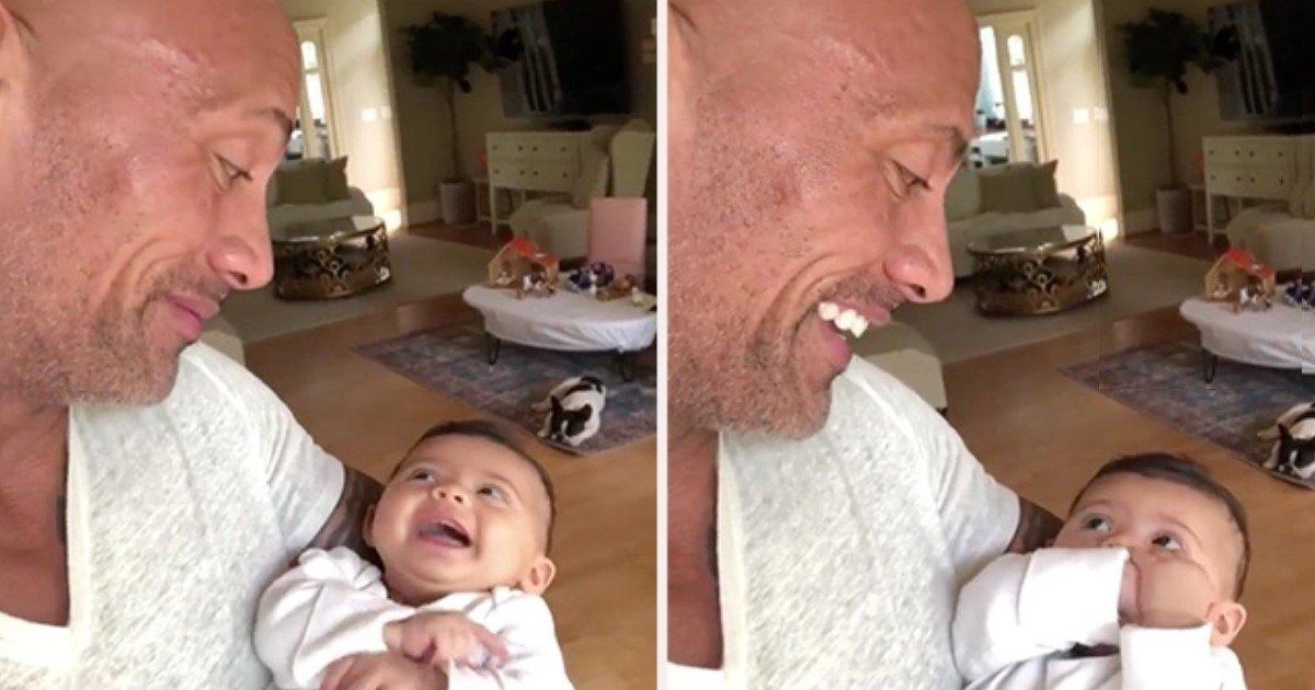 pic copy 2 27.jpg?resize=300,169 - 'La Roca' publica un video adorable con su hija de 3 meses e Internet se derrite