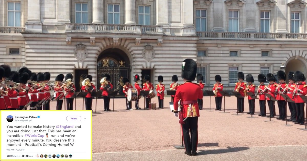 queens guard play three lions.jpg?resize=636,358 - Football Fever Spreads To Buckingham Palace As Royal Band Plays Three Lions During Changing Of Guard