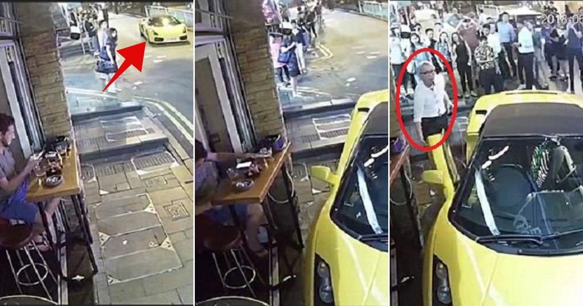 rambo.jpg?resize=648,365 - Un retraité oublie de mettre un frein à main sur sa Lamborghini et elle se fracasse presque dans un bar