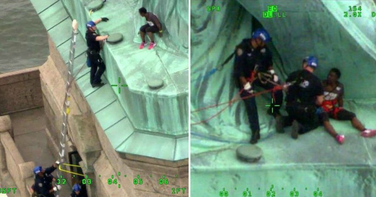 rise and resist.jpg?resize=1200,630 - 44-Year-Old Woman Who Climbed The Statue Of Liberty For Rise And Resist Protest