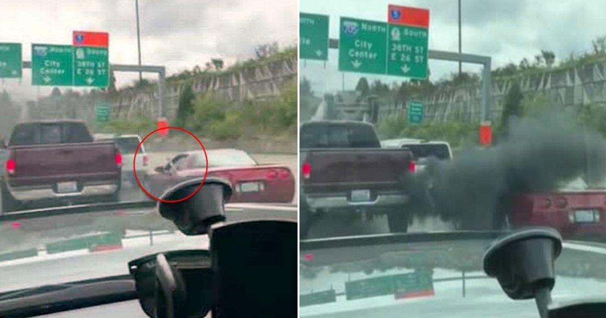 road revenge.jpg?resize=412,232 - Vengeance au volant: le chauffeur d'une corvette prend une bonne dose de fumée après avoir embêter un camion