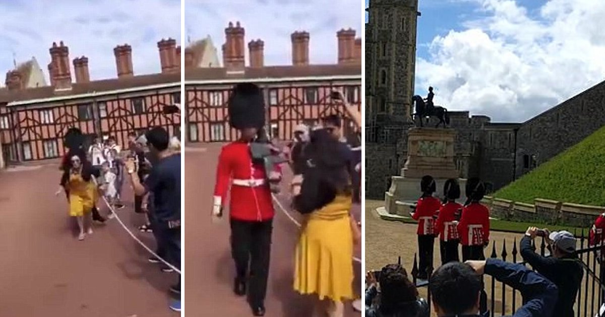 rrr 1.jpg?resize=1200,630 - Beware Of The Queen's Guard! Guardsman Aggressively Shoved A Female Tourist When She Paced Over The Ropes Into His Path