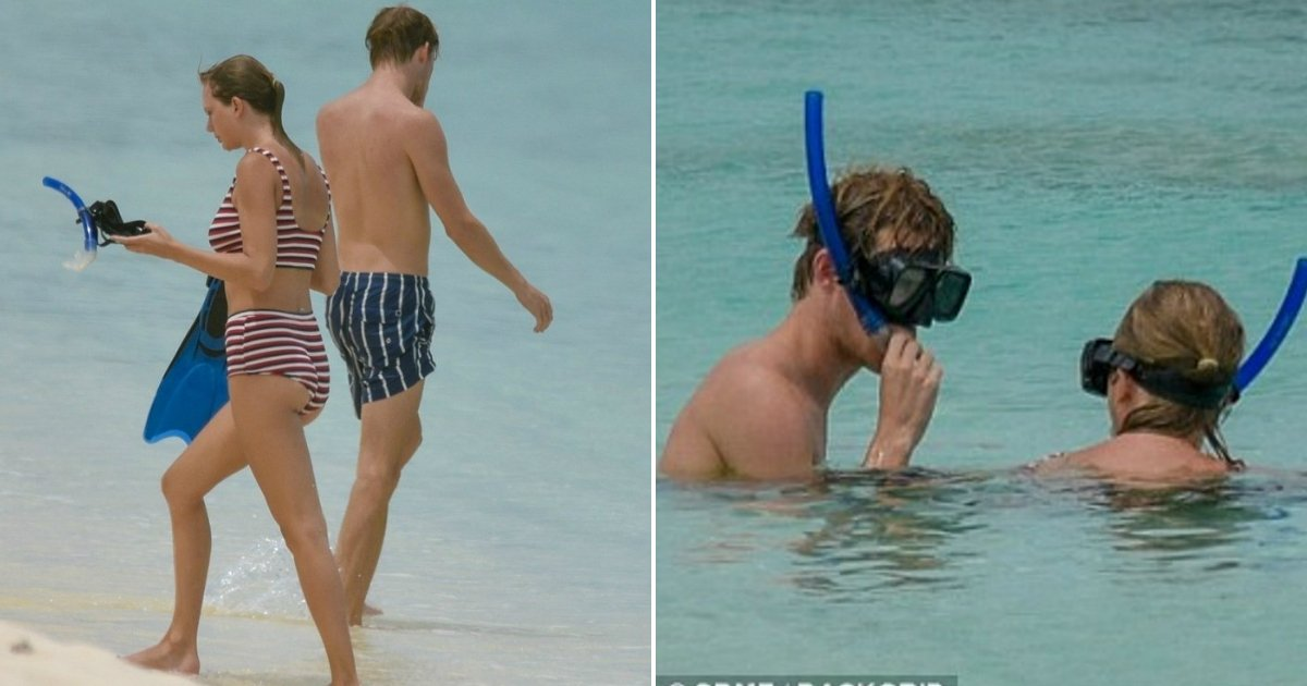 swift striped bikini.jpg?resize=636,358 - Taylor Swift Slips Into Striped Bikini As She And Boyfriend Joe Alwyn Enjoy Snorkeling In Turks And Caicos