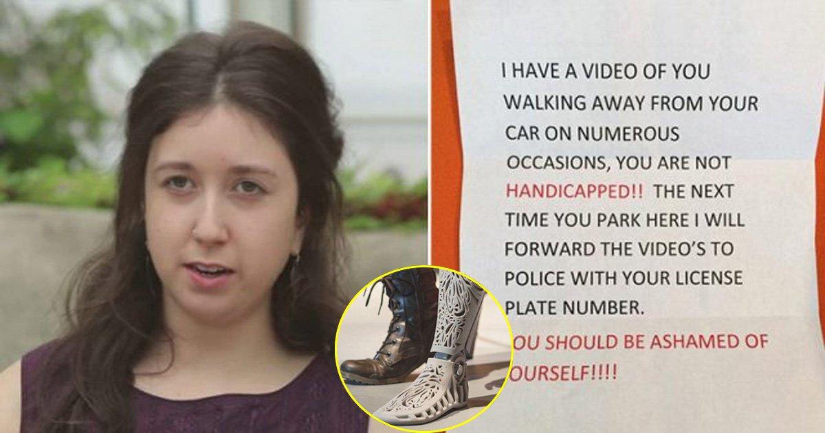 tat.jpg?resize=300,169 - Mulher com prótese de perna encontra uma nota ofensiva em seu pára-brisas, mas a maneira como ela lidou com isso é inspiradora