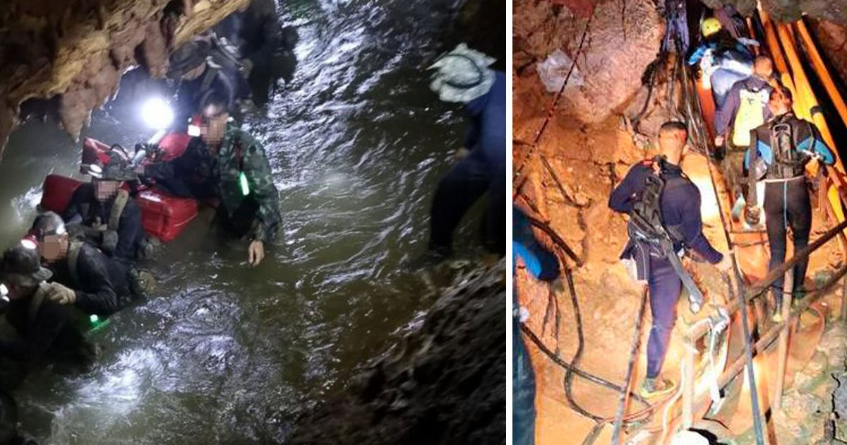 thai cave rescue 1.jpg?resize=1200,630 - Five Members Of Thai Football Team Still Trapped In The Flooded Cave, Eight Rescued