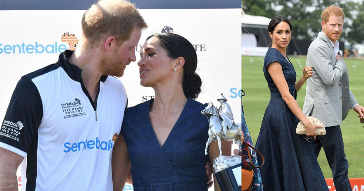 the duke and duchess of sussex shared a kiss as harrys team won the polo trophy at polo charity match.jpg?resize=636,358 - The Duke and Duchess of Sussex Shared A Kiss As Harry's Team Won The Polo Trophy At Polo Charity Match