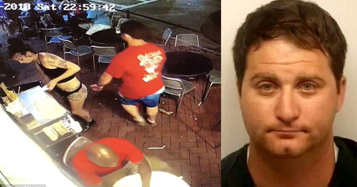 the man who grabbed backside of waitress was arrested and his girlfriend was also with him when the incident happened.jpg?resize=1200,630 - Waitress Slammed Pervert Against The Wall After He Touched Her Backside In A Bar