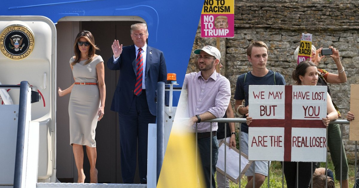 tr.png?resize=1200,630 - Trump Visits UK With The First Lady—Even After Protest He Claims The UK 'Likes Him A Lot'