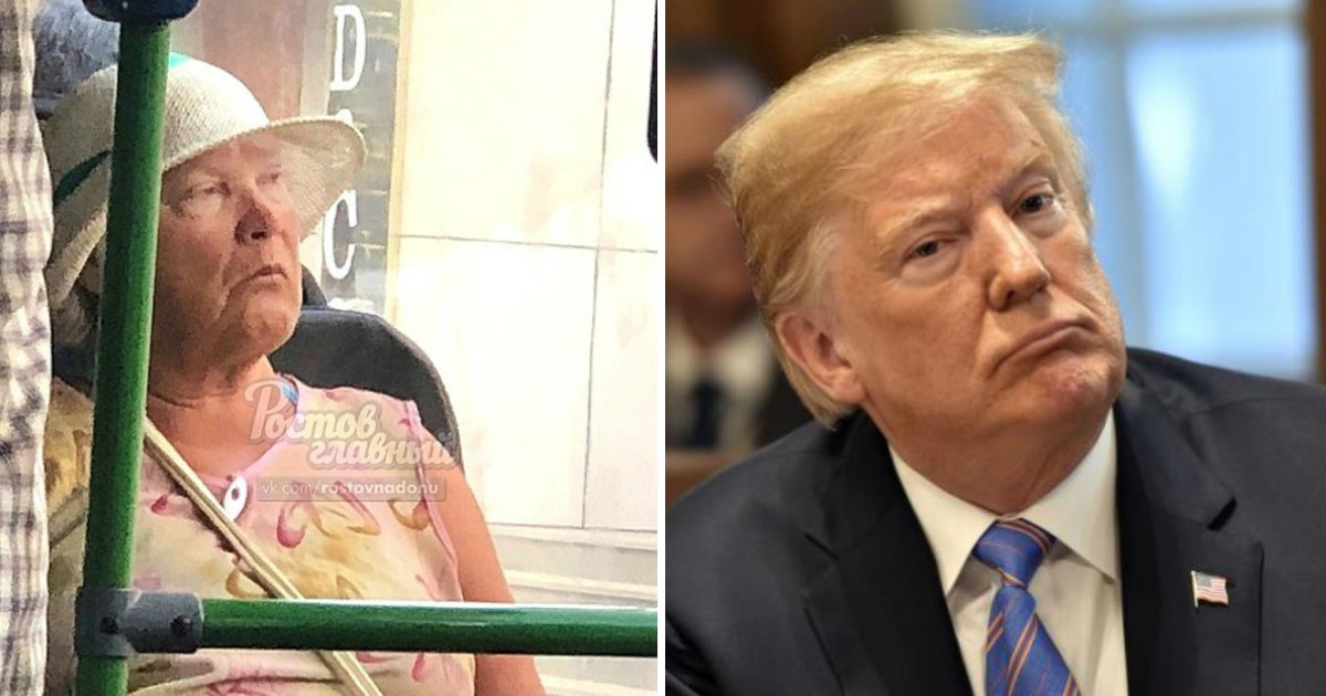 trump lookalike.jpg?resize=636,358 - Elderly Woman 'Donald-Ganger' Who Looks Just Like Trump Is Spotted On Russian Bus The Day He Met Putin