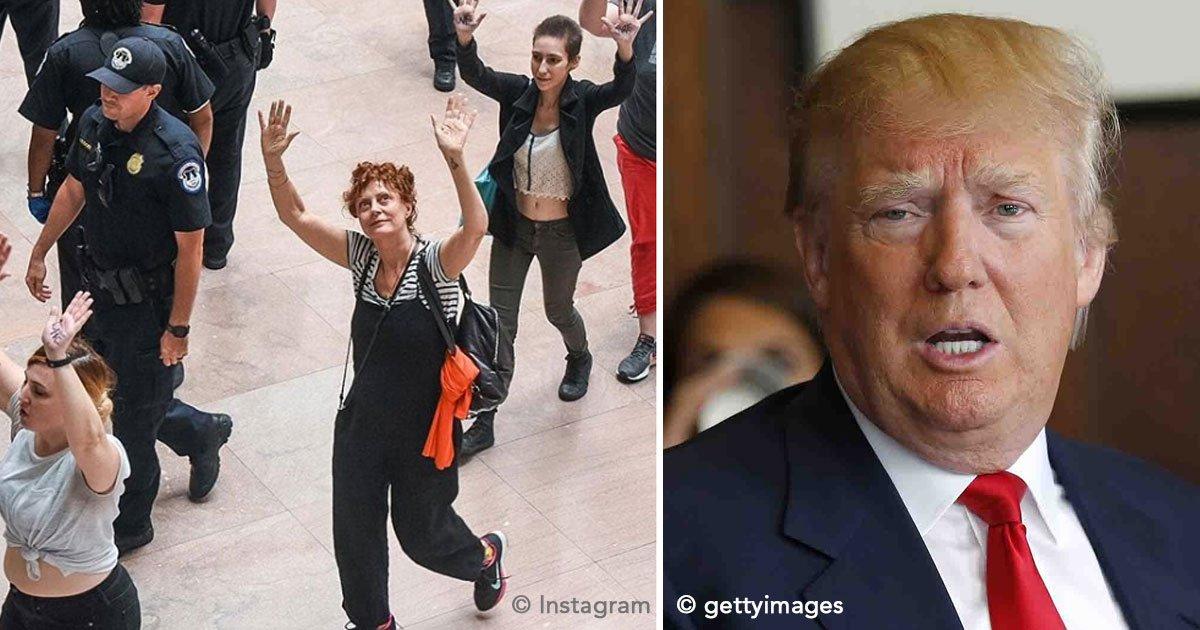 untitled 1 32.jpg?resize=648,365 - La actriz Susan Sarandon fue arrestada por protestar junto con otras 600 personas contra Donald Trump
