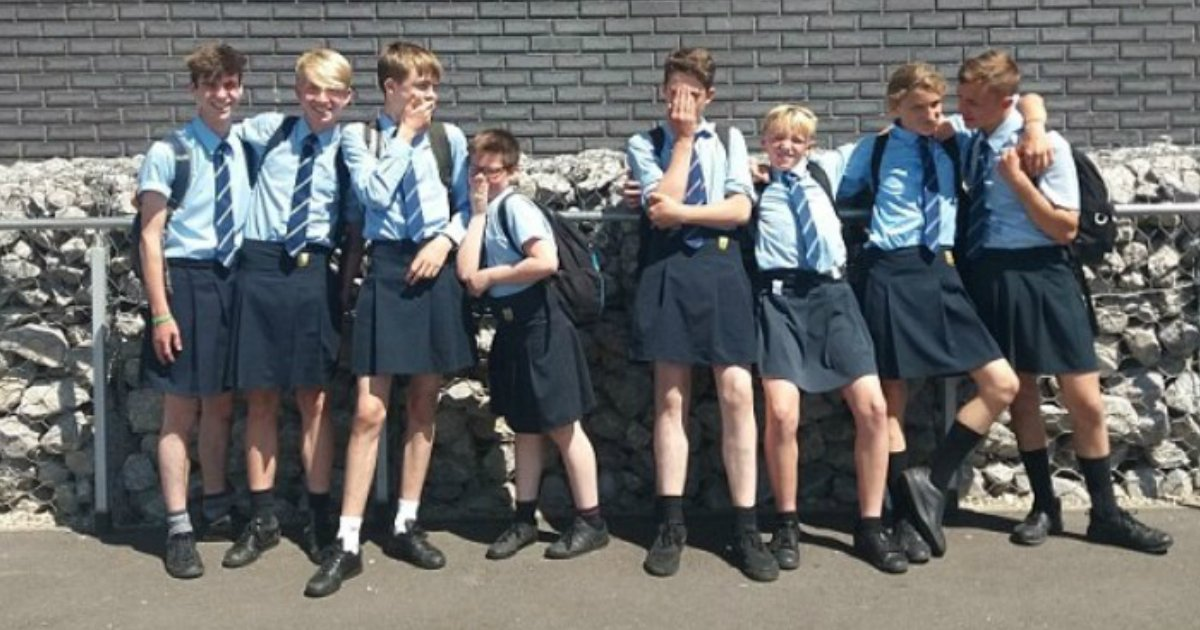 wearing skirt.jpg?resize=412,232 - Group Of Boys Wore Skirts To School After Being Banned From Wearing Shorts Despite Extreme High Temperatures