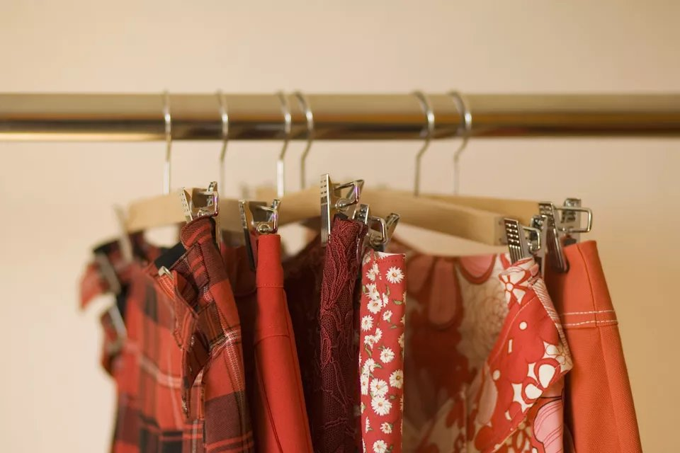 Skirts hanging on clothes rack