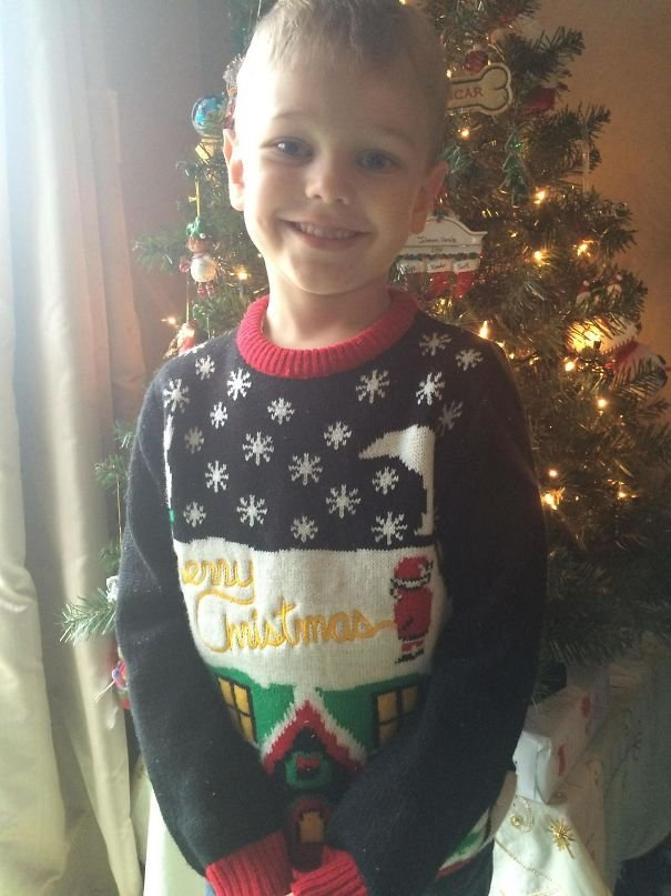 Accidentally Sent My Son To School With His Newly Bought Ugly Christmas Sweater. Didn