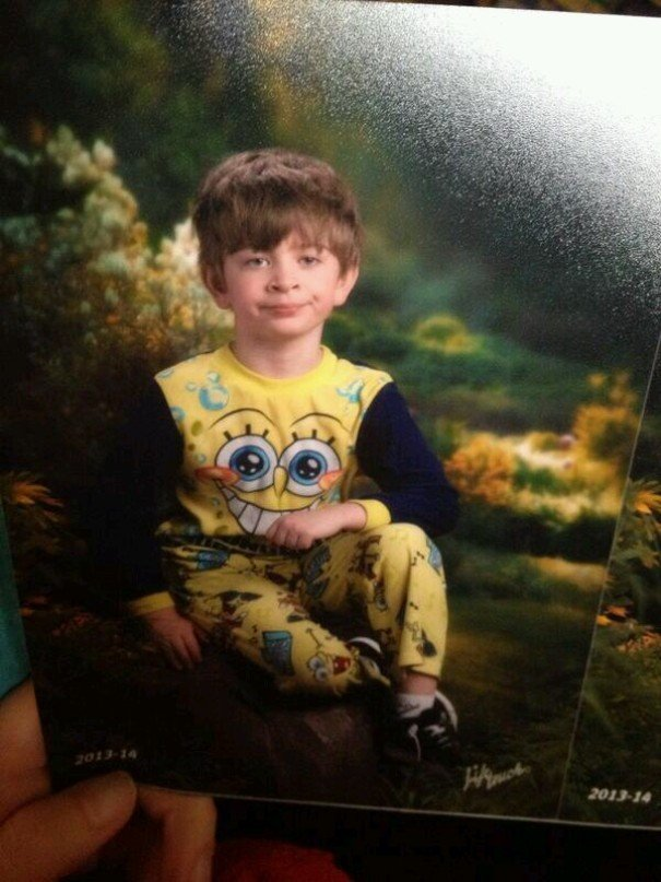Mixed Up Pajama Day And Picture Day. Son Was Not Pleased