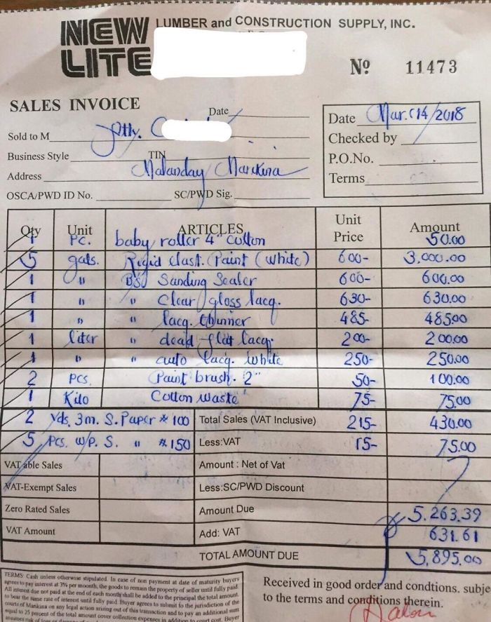 This Receipt From A Hardware Shop