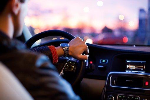 자동차, 교통, 남자, 서둘러, 스티어링 휠, 황혼, 현대, 라디오