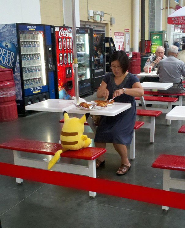I Raise You My Costco Lady Having Lunch With Pikachu
