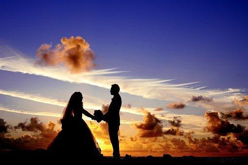 선셋, 결혼식, 신부, 신랑, 커플, 실루엣, 하늘, 구름, 황혼