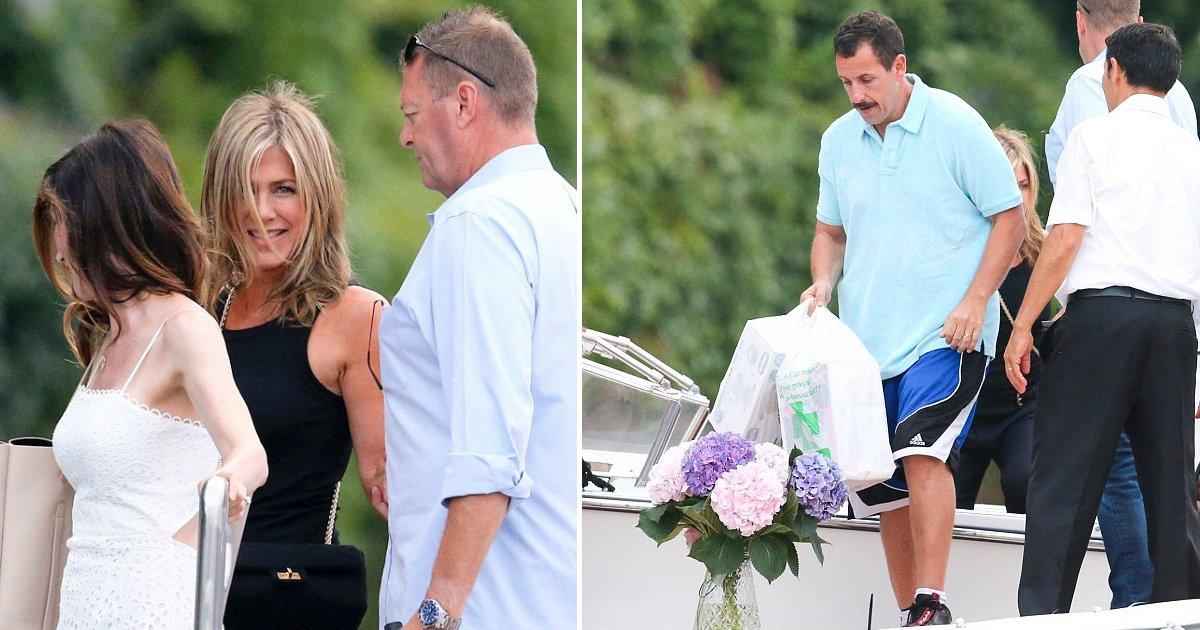 anniston sandler.jpg?resize=636,358 - Jennifer Aniston se joint à Adam Sandler chez George Clooney, en Italie, pour quelques jours de vacances