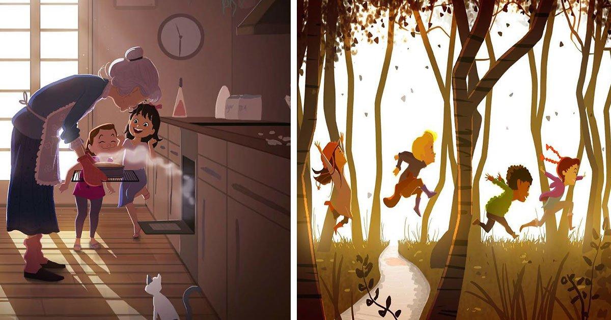 artist illustrates childhood memories.jpg?resize=412,232 - Cet artiste illustre superbement ses doux souvenirs d'enfance: les images vous rendront émotif