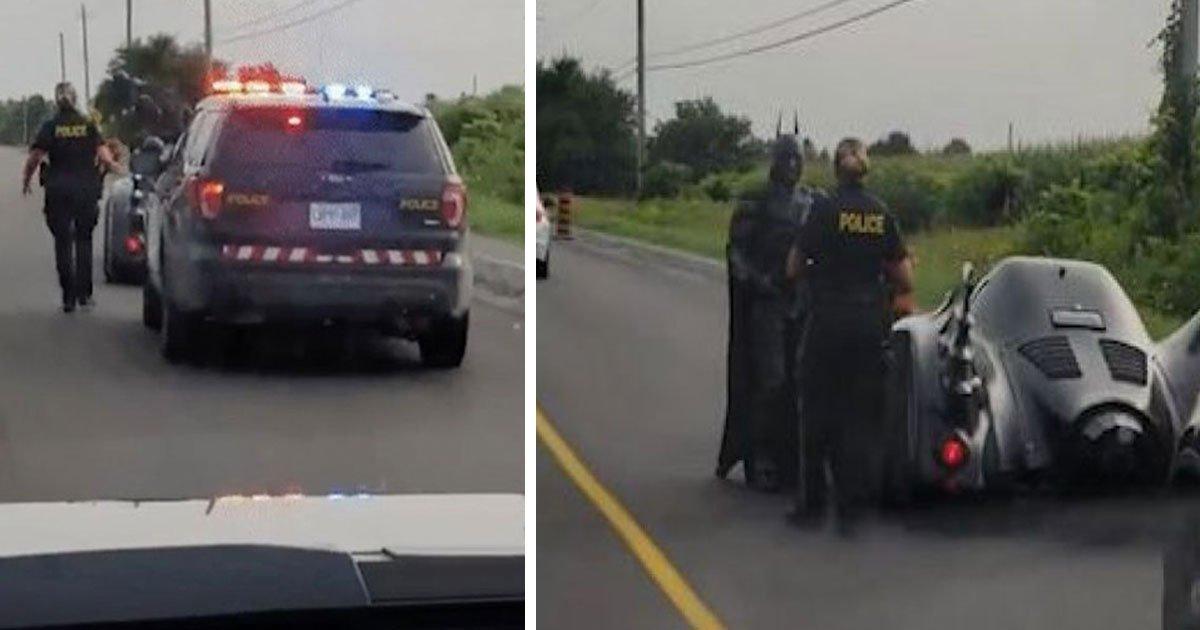 """batman canada pull over police.jpg?resize=636,358 - Momento hilariante quando """"Batman"""" é parado pela polícia registrado em vídeo"""