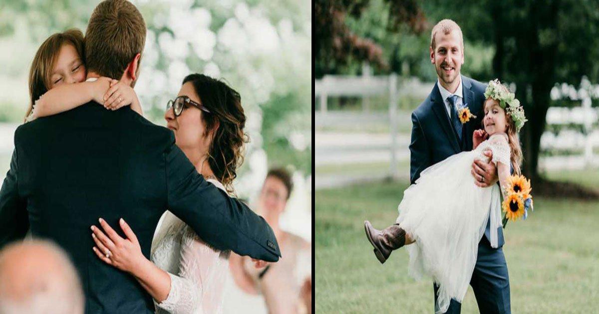 """brandon lindenman anastasia lindenman wedding raina 7.jpg?resize=300,169 - Padrastro le hace una propuesta a la hija de 4 años de la novia: """"¿Me llamarás papá?"""