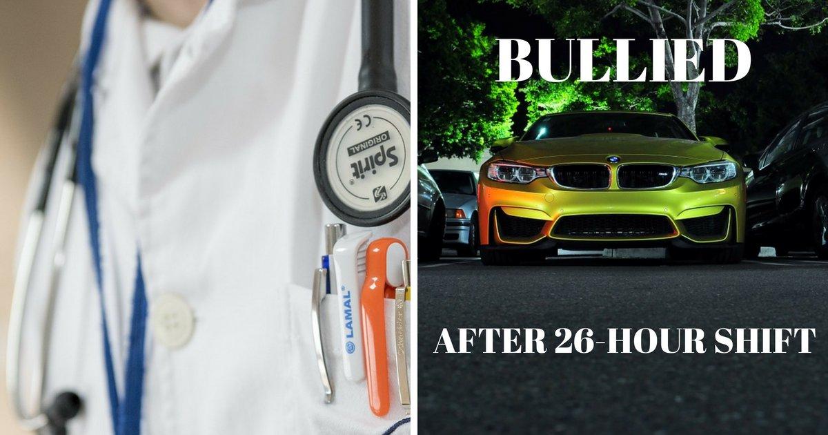 bullied.png?resize=412,232 - Un médecin afro-américain termine une journée de 26 heures avant de se faire insulter par un raciste sur le parking