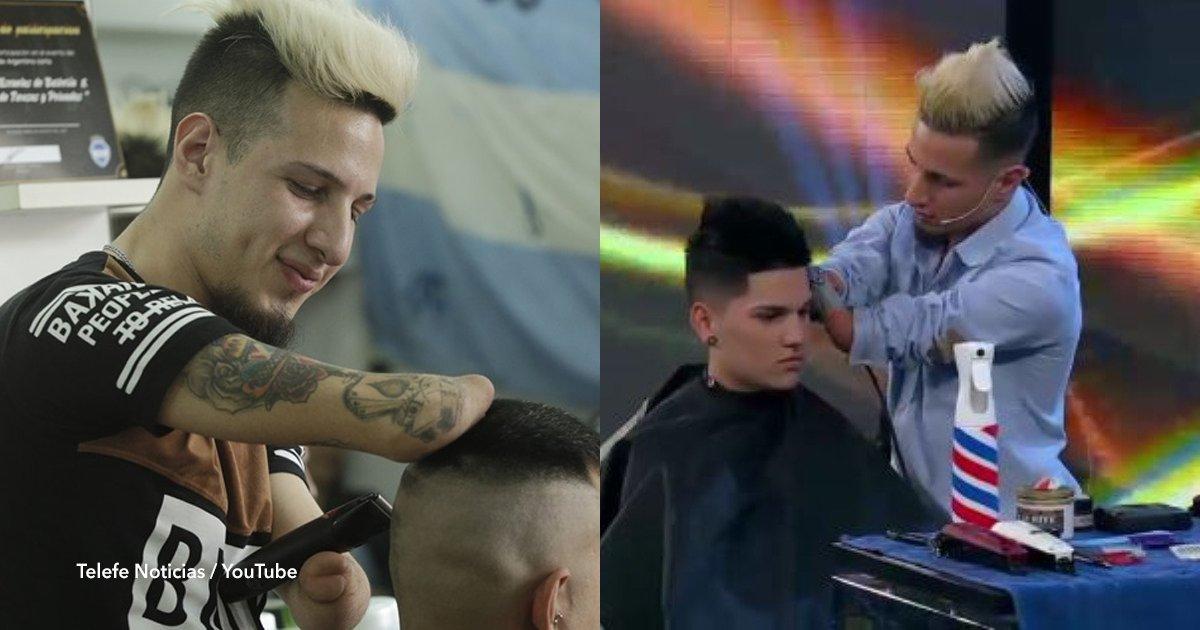 cov 1 45.png?resize=412,232 - Gabriel Heredia, é um barbeiro argentino sem mãos que emociona o mundo com seu talento