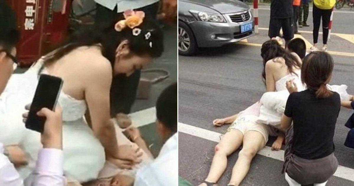 cpr wedding dress.jpg?resize=636,358 - Usando seu vestido de casamento, noiva faz RCP em idosa ferida