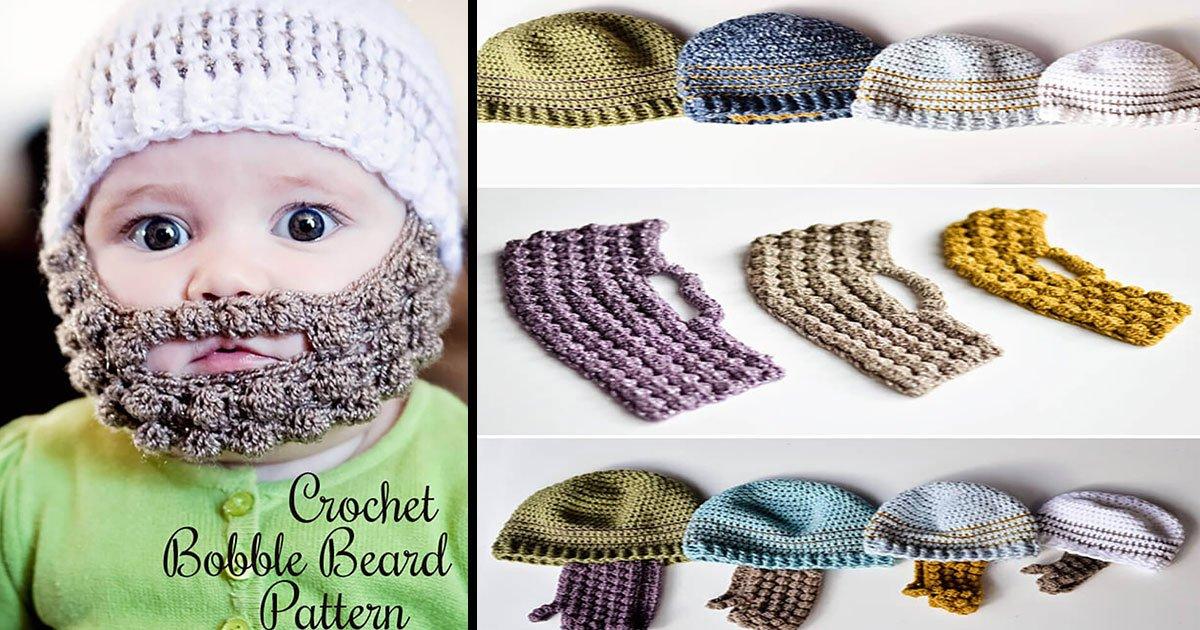 crochet bobble beard pattern.jpg?resize=412,232 - Essas toucas de crochê super fofas farão o seu bebê parecer barbudinho