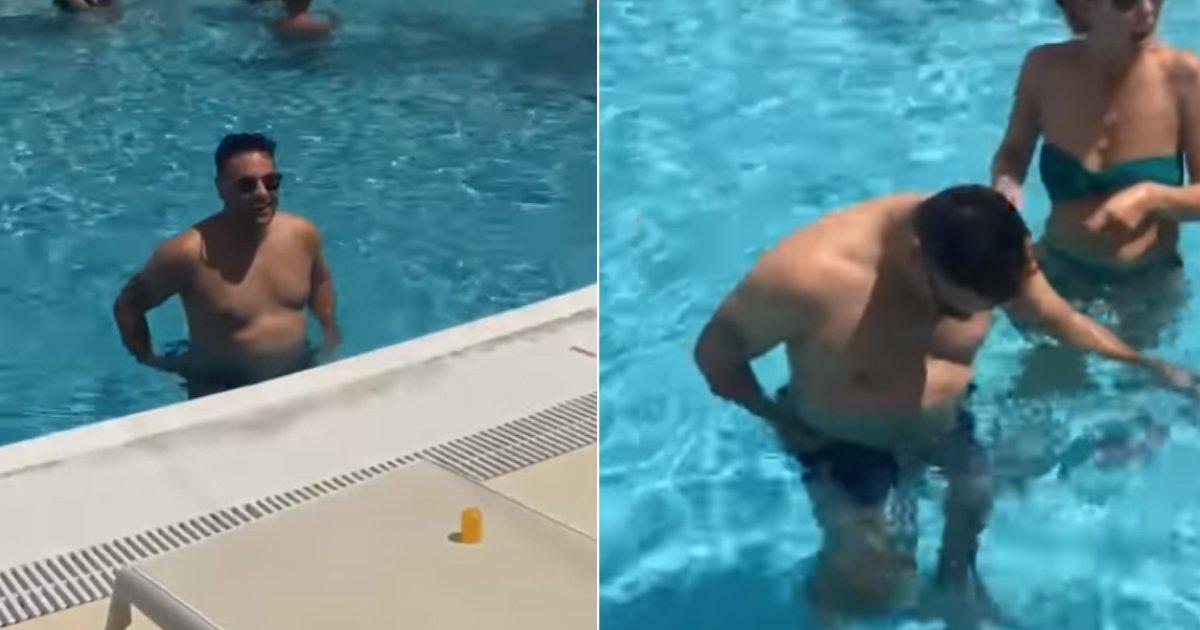dissolve.jpg?resize=412,232 - Pegadinha divertida mostra homem usando calção de banho que dissolve na água