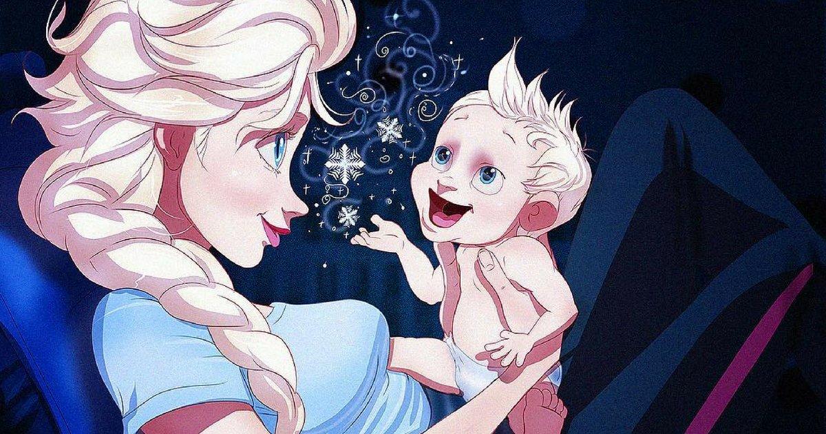 elsababy.png?resize=300,169 - Artista ilustra princesas da Disney como mães e o resultado é maravilhoso