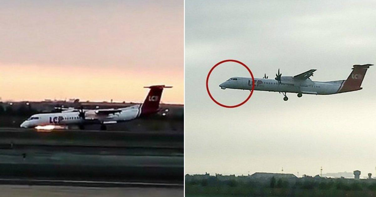 emergency landing.jpg?resize=412,232 - Un avion forcé de faire un atterrissage d'urgence sur le nez terrifie les passagers !
