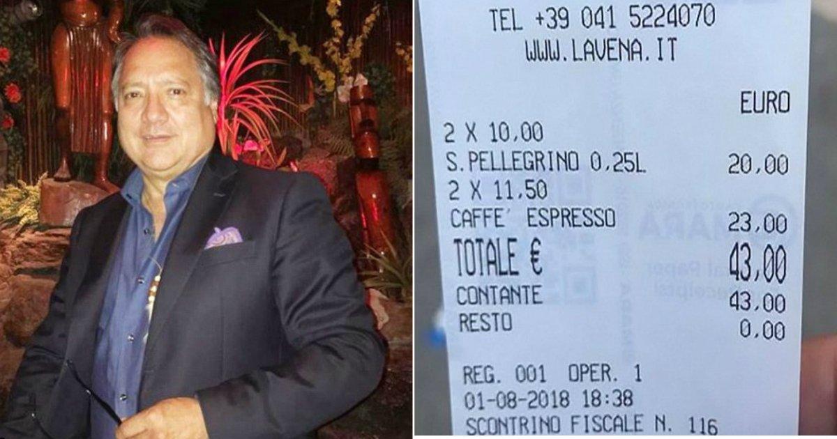 expensive cafe.jpg?resize=300,169 - Cliente irritado bate em garçom de cafeteria em Veneza por cobrá-lo $50 por duas xícaras de café e duas garrafas d'água