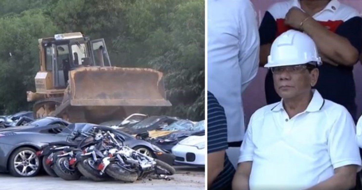 featured image 1.jpg?resize=636,358 - Philippines President Watches As $5.6 Million Worth Of Smuggled Supercars Are CRUSHED By Bulldozer