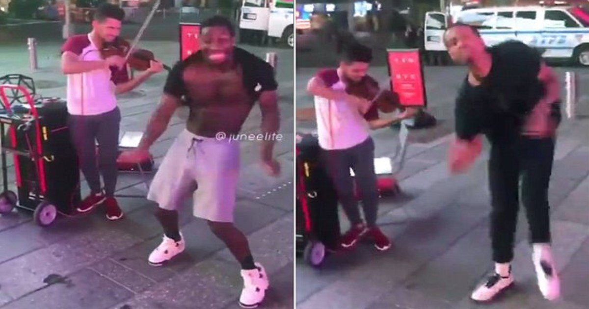featured image 39.jpg?resize=636,358 - Cheering Moment As 4 Men Start Dancing The Harlem Shake And Talented VIOLINIST Plays Incredible Tune In Times Square