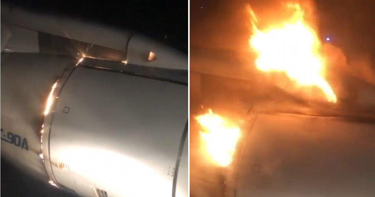 featured image 69.jpg?resize=412,232 - Un moment terrifiant : le réacteur d'un avion s'enflamme l'obligeant à se poser d'urgence